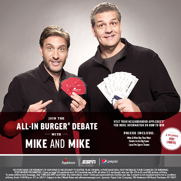 Join the All in burger debate with Mike and Mike Visit your neighborhood Applebees for more information